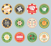 Poker retro labels set Royalty Free Stock Photography