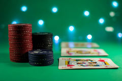 Poker room with cards and chips Royalty Free Stock Photo