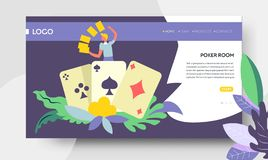 Poker room online web page casino and gambling. Casino and gambling poker room online web landing page vector play card suits and gambler stakes and betting royalty free illustration