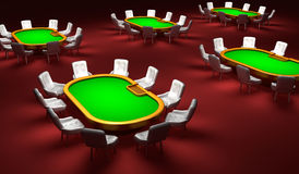Poker room, Poker tables with chairs Stock Image