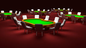 Poker room, Poker tables with chairs Royalty Free Stock Photos