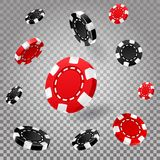 Poker or roulette chips or 3d casino coins royalty free illustration