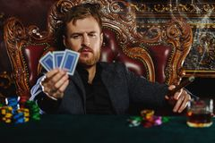 Poker and roulette royalty free stock photos