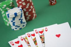 Poker royal flush Royalty Free Stock Photo