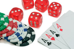 Poker, royal flush, dice and gambling chips Stock Images