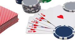 Poker, royal flush and gambling chips Stock Photos