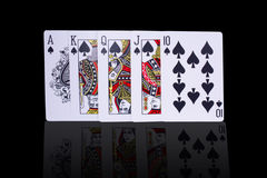 Poker Royal Flush Playing Cards. Close UP Poker Royal Flush Playing Cards Hand In Diamond Spades Stock Image