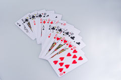 Poker Royal Flush Playing Cards. Hand In All Suits Royalty Free Stock Images