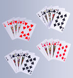 Poker Royal Flush Playing Cards. Hand In All Suits Stock Photos