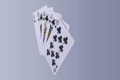 Poker Royal Flush Playing Cards Hand. In Suit of Clubs Royalty Free Stock Image