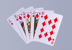 Poker Royal Flush Playing Cards Hand. In Suit of Diamonds Stock Image
