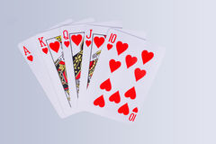Poker Royal Flush Playing Cards. Hand In The Suit Of Hearts Stock Images