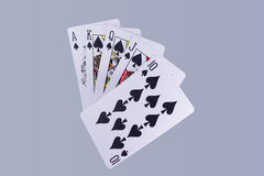 Poker Royal Flush Playing Cards Hand. In Suit of Spades Royalty Free Stock Photos