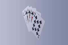 Poker Royal Flush Playing Cards Hand. In Suit of Spades Stock Images