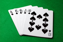 Poker: Royal Flush (Spades) Stock Photo