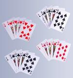 Poker-Royal Flush-Spielkarten Stockfotos