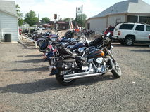 After the Poker Run. Line up of motorcycles following a Poker Run Stock Photos