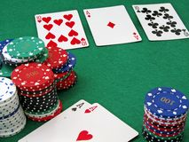 Poker scene - Full house Royalty Free Stock Photo