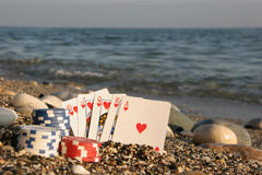 Poker by the sea Royalty Free Stock Images