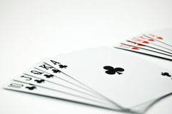 Poker Seriers. Wow! Royal flush. What a luck Stock Photo