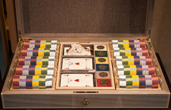 Poker set box,playing cards,tokens Royalty Free Stock Photo