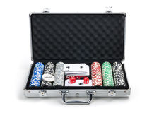 Poker set in case Stock Image