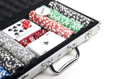 Poker set in case Royalty Free Stock Photography