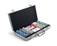 Poker set in case Stock Photo