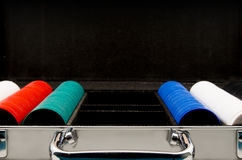 Poker set with case and cips Royalty Free Stock Images