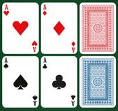 Poker set with isolated cards - Aces and card backs. On green background Royalty Free Stock Photos