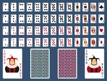 Poker set with isolated cards casino gambling deck. Playing royal king queen jack gamble symbols. Blackjack club flush vector design royalty free illustration