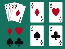 Poker set with isolated cards casino gambling deck. Poker set with isolated cards casino gambling deck playing royal king queen jack gamble symbols. Blackjack Royalty Free Stock Photo