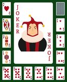 Poker set with isolated cards casino. Gambling deck playing royal king queen jack gamble symbols. Blackjack club flush vector design royalty free illustration