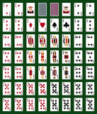 Poker set with isolated cards on green background. Casino gambling deck playing royal king queen jack gamble symbols. Blackjack club flush vector design royalty free illustration
