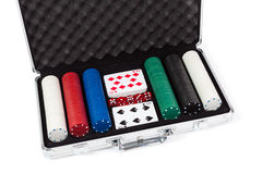 Poker set in metal suitcase Royalty Free Stock Image