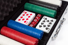 Poker set in metal suitcase Stock Photo