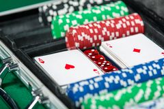 Poker set in metal suitcase Royalty Free Stock Photography