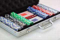 Poker set in metal suitcase Stock Images