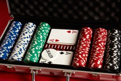 Poker set in metal suitcase. Risky entertainment of gambling. Top view on red background. Casino background. Copy space. Still life Royalty Free Stock Images