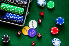Poker set in a metallic case on a green gaming table top view Royalty Free Stock Photo