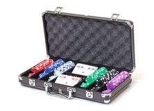 Poker Set in a Metallic Case Royalty Free Stock Images