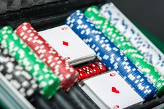 Poker set in the suitcase Royalty Free Stock Photo