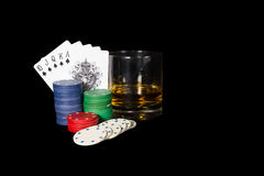 Poker setting in Black. Background Royalty Free Stock Photography
