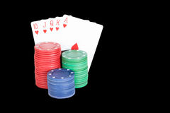 Poker setting in Black. Background Royalty Free Stock Photo