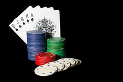 Poker setting in Black. Background Stock Photography
