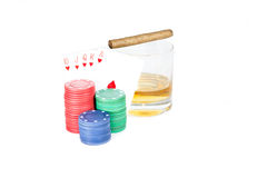 Poker setting in white. Background Stock Photos