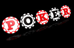 Poker Sign On Black. Poker sign on red and black colored chips. Black background with reflection Royalty Free Stock Photo