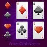 Poker som spelar kortvektorn Fotografering för Bildbyråer