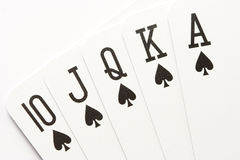 Poker - spades royal flush Stock Photos