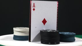 Poker spinning with gambling chips.show on table stock video
